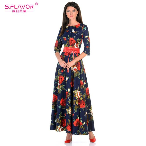 S.FLAVOR Women printing dress Autumn fashion Rose printing long vestidos Good quality Women Russian style casual autumn dress
