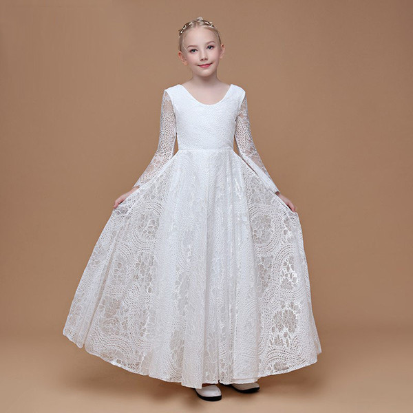 2018 Autumn Collection Long Sleeves Lace Girls Party Dress Style Good Quality Child Birthday Gown Communion Dress Floor Length Flower Girl Dresses