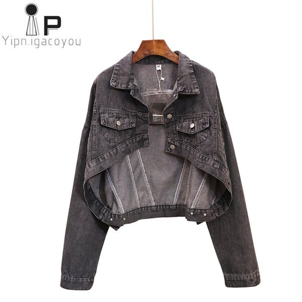 Oversized Short Denim Jacket Women Washed Basic Coat 2018 Big size Autumn Student Fashion Jeans Jacket Women Harajuku Denim Coat C18110601