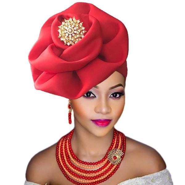 2018 nigeriano gele headtie con perline già fatte auto hele turbante cap africano e ase ebi gele aso oke headtie con perline