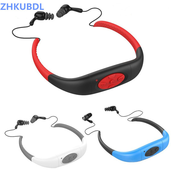 ZHKUBDL IPX8 4G 8G Waterproof Sports MP3 Music Player Underwater Swimming Diving with FM Radio Earphone Stereo Audio Headphone