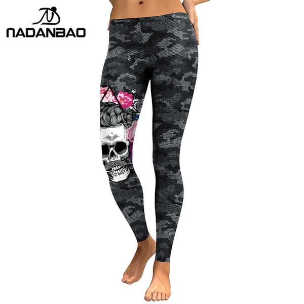 New Arrival Leggings Women Skull Head 3D Printed Camouflage Legging Workout Leggins Slim Elastic Plus Size Pants Legins