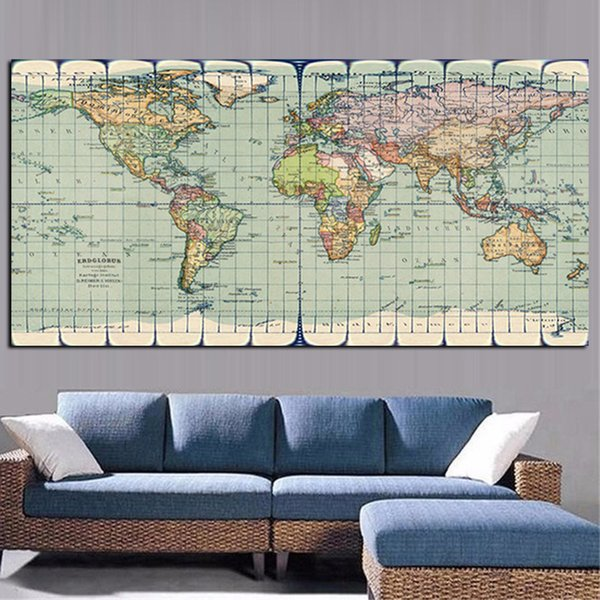 1 Piece Classic Vintage Earth World Map Painting Canvas HD Print On Canvas Art Poster Modern Wall Picture No Framed