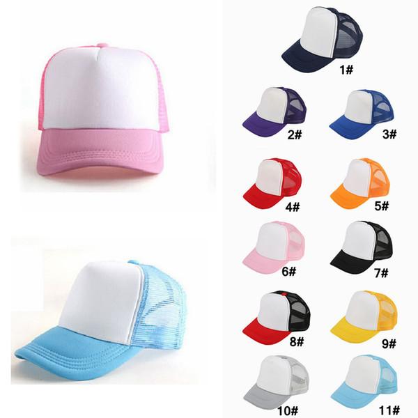 8b7ca8bb Kids Mesh Blank Trucker Cap Adult Caps Patchwork Hat Summer Hip Hop Hat  Children Baseball Caps Baby Fashion Sunhats Visor Aaa1064 Flat Bill Hats ...