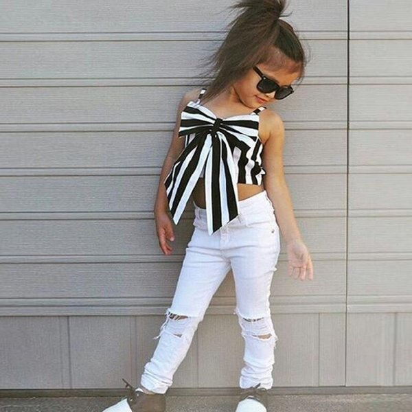 baby girls summer outfits striped big bow top T-shirt+ hole pants 2pcs/set kids suits striped children princess clothes outfits