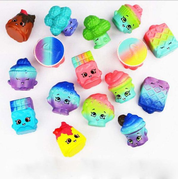 Vegetable Squishies Funny Slow Rising Bread Cake Pendant Charm Toy Stretchy Squeeze Cream 2pcs 1 Lot YW894