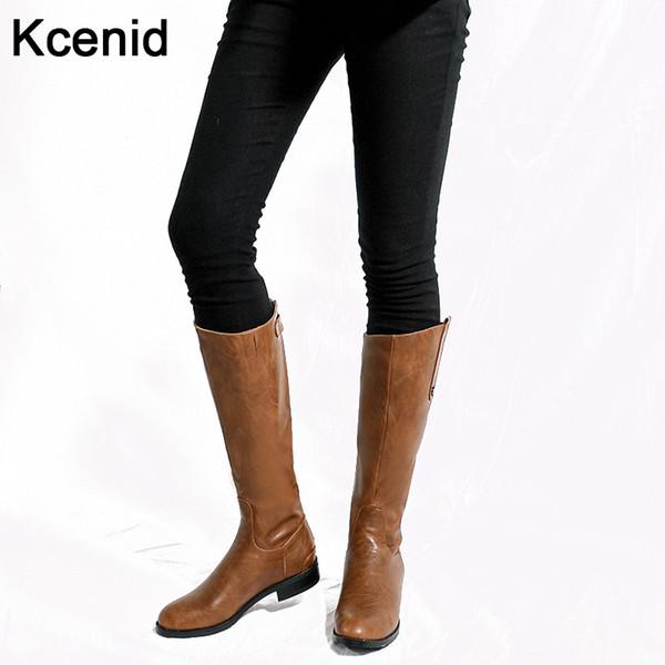 Kcenid Плюс размер 34-43 мода горячей продажи зимой сапоги круглый носок низкой пятки старинные женщины колена высокой сапоги обратно застежка-молния коричневые туфли