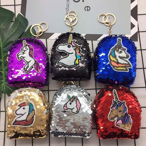 3pcs 2018 Women Fashion unicorn Patten Sequin Coin Purses 6Colors Kids Min Wallets Keychain