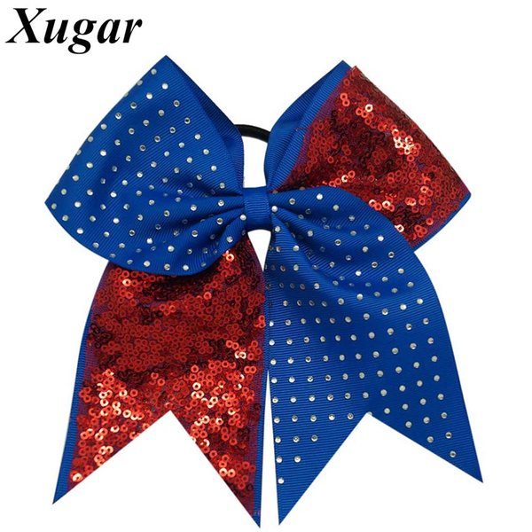 7'' Solid Sequins Rhinestone Boutique Grosgrain Ribbon Cheer Bow With Elastic Hair Bands For Cheerleading Girl Hair Accessories