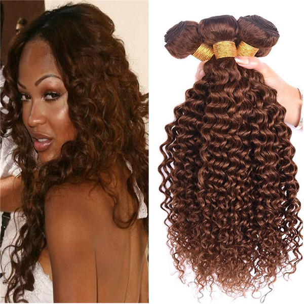 Brown Water Wave Human Hair Bundles Chocolate Brown Deep Wave Curly Hair Extension 3Pcs/Lot Brazilian Virgin Hair No Tangle No Shedding
