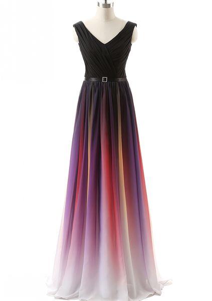 Real Photos Elegant Women's A-Line Long Chiffon Ombre Bridesmaid Dresses Plus Size Maxi Skrit V-Neck Lace Up Wedding Party Dresses