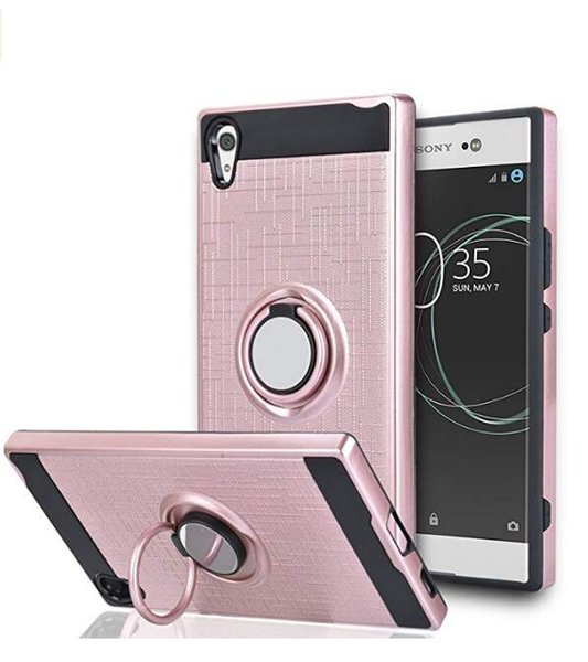 360 Degree Rotating Ring & Magnetic Rubber Dual Layer Shock Bumper Resistant Back case for Sony Xperia XA1 L1 XA1 ULTRA E5 C6 ULTRA Z1 mini