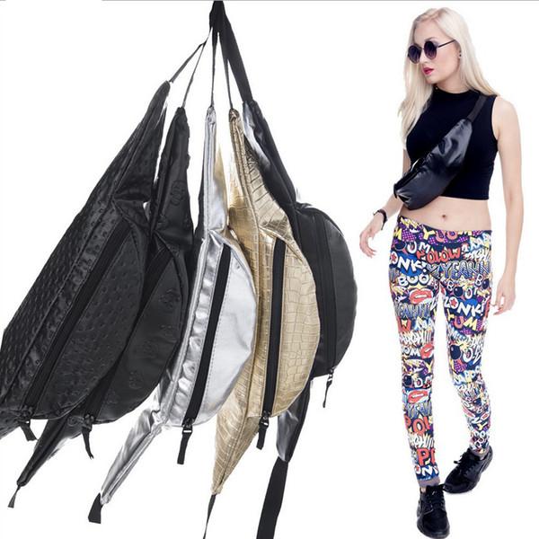 Mode Bling En Cuir Taille Packs Femmes Argent Mochila Cintura Taille Sac Ceinture Sac Hommes Poche PU Casual Fanny Pack Sac