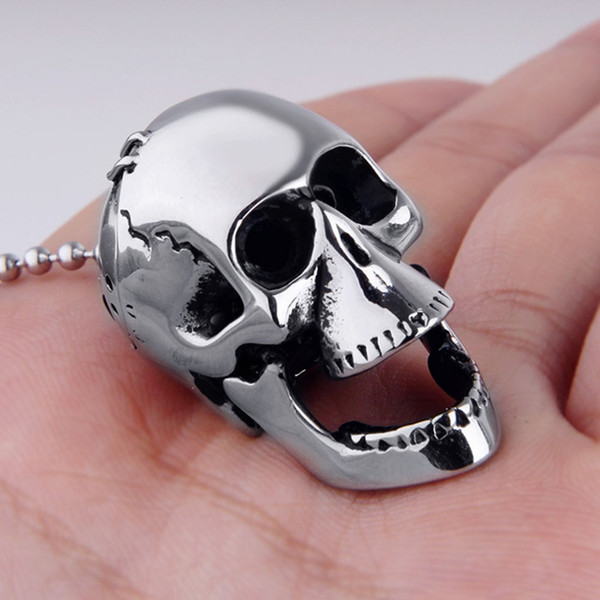 """Free Bead Chain 316L Stainless Steel Silver Black Punk Big Skeleton Skull Head Mens Unisexs Pendant Necklace 24"""" Christmas Gift"""