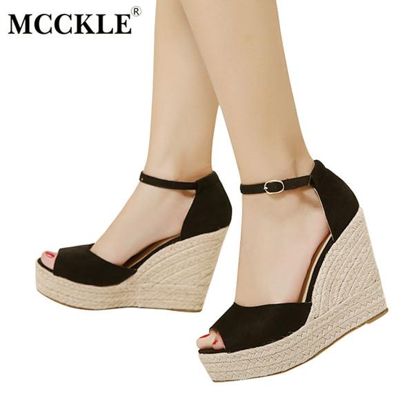 MCCKLE Fashion Superior Quality Comfortable Bohemian Wedges Women Sandals For Ladies Shoes High Platform Open Toe Plus Size