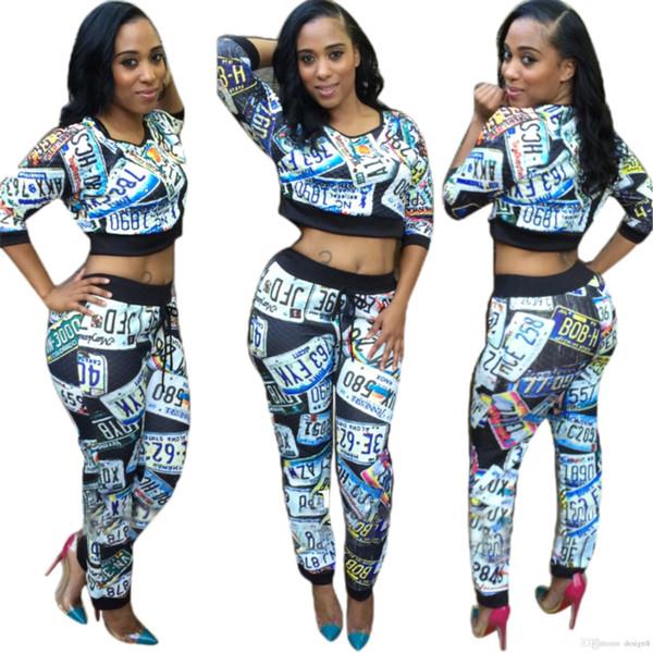 Chaqueta corta de manga larga y pantalón de manga larga con estampado de moda sexy de dos piezas de diseño nuevo para mujer ropa deportiva informal ropa deportiva