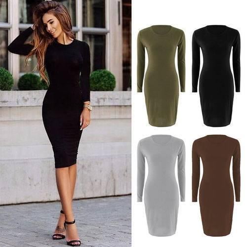 Winter Autumn Spring Women Long Sleeve Lady Bodycon Sexy Slim O-neck Casual Dress Cotton Blends Black Grey Green Brown Color Women Clothing