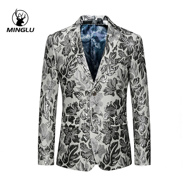 Minglu Brand Slim Fit Blazer floral blanco para hombres Etapa de ropa para cantantes Blazers ocasionales de dos botones para hombres 5XL 6XL