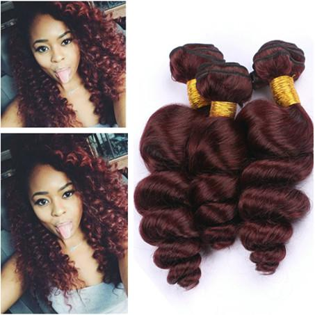Loose Wave #99J Burgundy Red Virgin Chinese Human Hair Bundle Deals 3Pcs Loose Wavy Weave Extensions Wine Red Human Hair Bundles