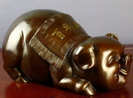 China Feng Shui Bronze copper Zodiac Animal pig Wealth lucky lovely Pig Statue