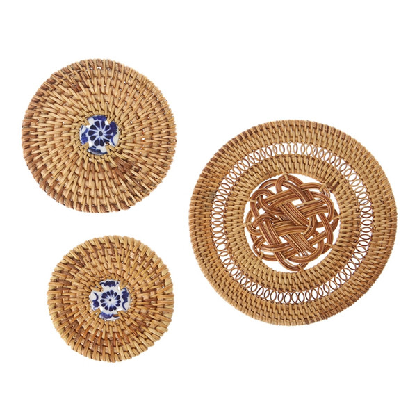 Hot Sell OOTDTY Vintage Rattan Weaving Coaster Placemat Cup Mats Pad Drink Table Mat Kitchen Tool