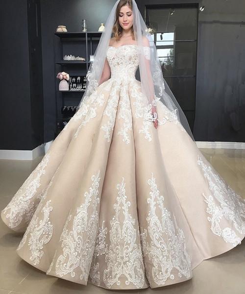 Vintage Puffy Champagner Brautkleider plus size weg von der Schulter Appliques Country Garden Brautkleider Frauen plus Größe Robe de Mariée 2018
