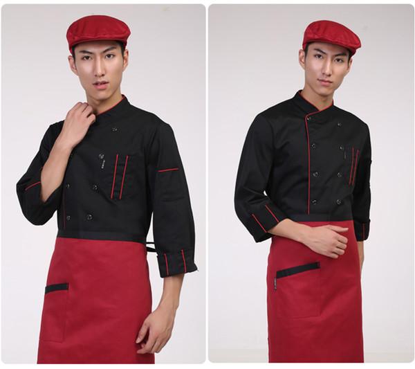 Grembiule da cuoco maschile Grembiule da hotel Grembiule uniforme da donna Tasca doppio petto Elegante