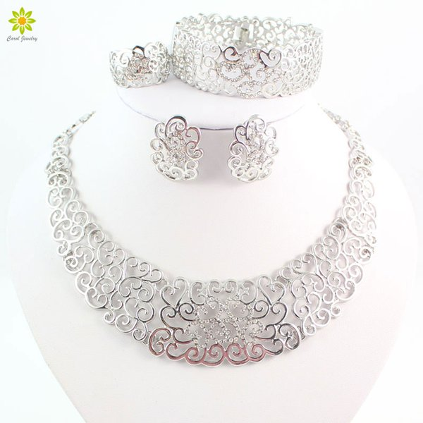 ewelry wedding dress Fine Jewelry Sets Fashion Wedding Accessories Women African Beads Crystal Silver Plated Necklace Earrings Set Dress ...