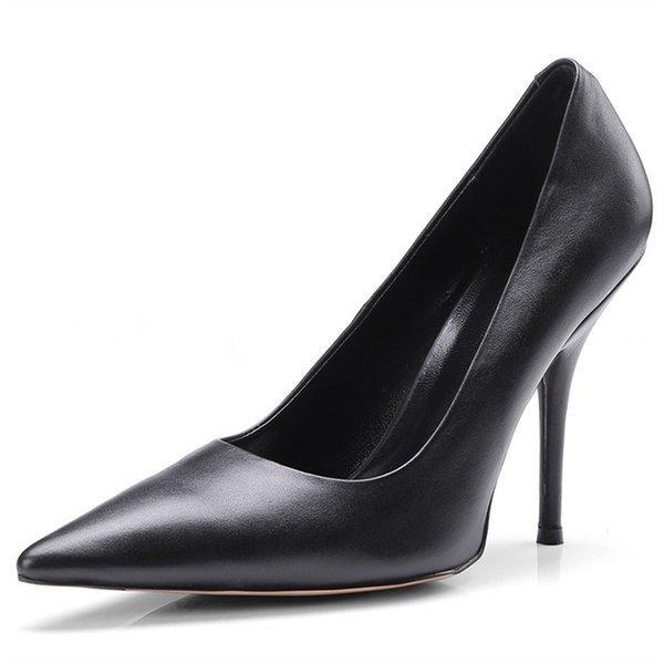2018 сандалии из натуральной кожи женские туфли на высоком каблуке весна-лето модная обувь острым носом мелкие свадебные туфли на высоких каблуках туфли