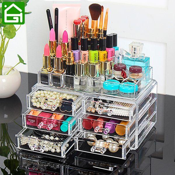 4 Layers Clear Acrylic Cosmetic Jewelry Organizer Jewelry Lip Moisturizer Storage Drawers Lipstick Lipbrush Nail Polish Holder