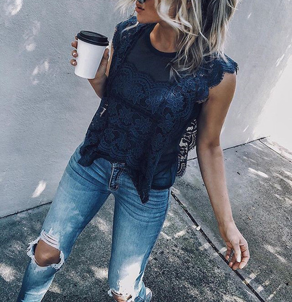 Hot Sale Summer Lace Women T Shirts Crew Neck Cap Sleeves See Through Lace Fashion Navy Blue Black T Shirt Casual Loose Topss and Tees