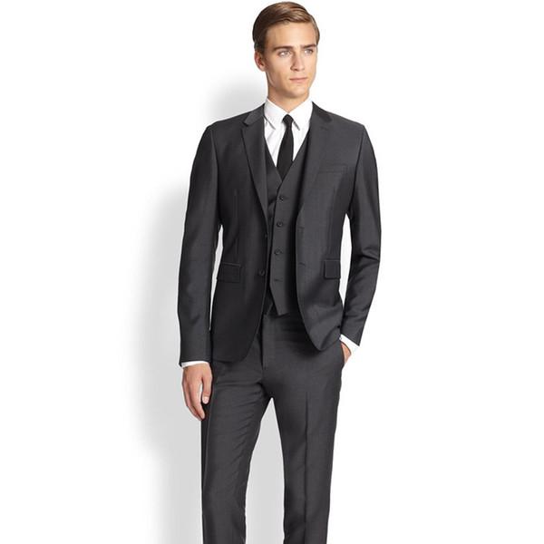 Men Blazer Business Prom Grey charcoal Party Suits Wedding Suits For Men Tuxedos Groom Suits (Jacket+Pants+Vest)