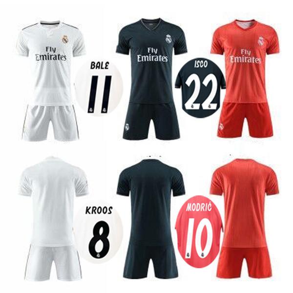 18 19 Real Madrid Soccer Sets RONALDO Football Kits BALE MODRIC ISCO ASENSIO KROOS Soccer Jerseys Shorts Adult Thai Quality Football Uniform