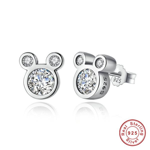 Popular Romantic Love Cartoon Mic key Mouse Stud Earrings Women&Girl 925 Sterling Silver Dazzling Jewelry Gift