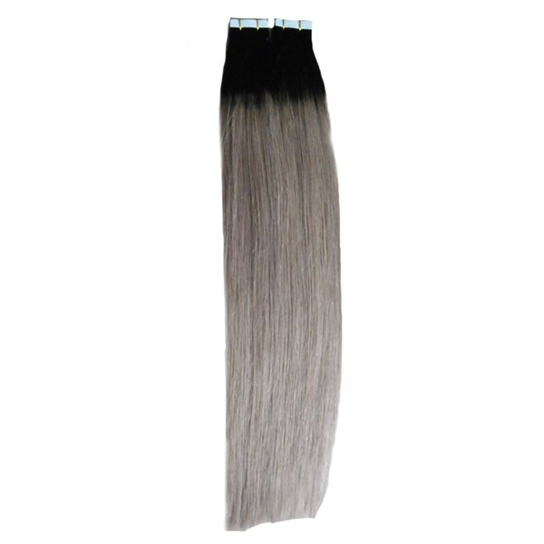"Grade 8A Unprocessed Cheap Human Indian T1B/Grey Tape Extensions Ombre 40pcs Mrs Hair 100g 18""20'22"" Skin Weft Tape Hair Extensions"