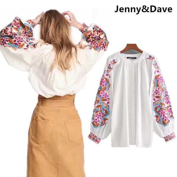 acf8051f4ec904 Jenny&Dave blouse women bohemian floral embroidery lantern sleeve kimono  shirt blusas women plus size womens tops