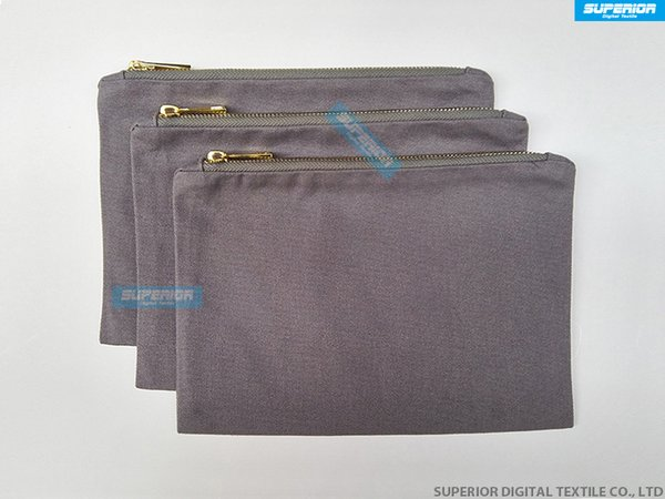 Beautiful And Durable Gray 12oz Cotton Canvas Cosmetic Bag Matching Gray Metallic Gold Zipper And Gray Lining 7x10 Inch 100pcs/lot