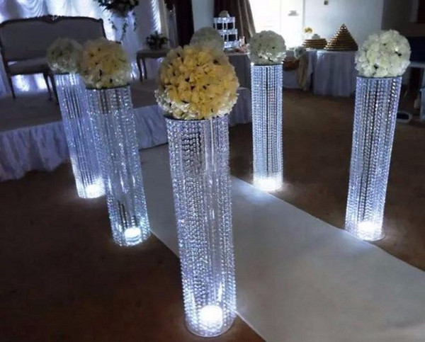 Luxury Shiny Wedding Decor Centerpieces Acrylic crystal pillar aisle road lead with led light Party Table Decoration Props