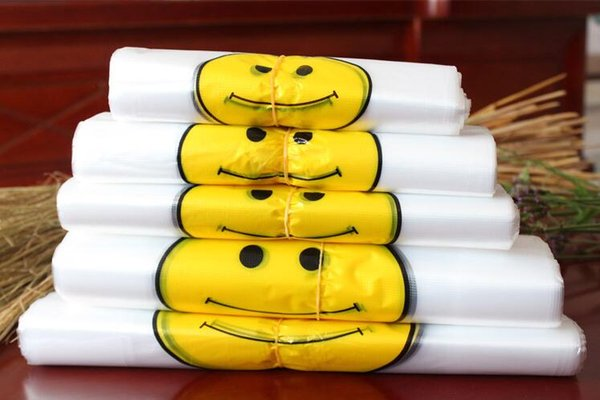 Transparent Smiling Face Portable Plastic Bags Customized Fresh Material Waterproof Multi-purpose Vest Shopping Bags high quality 50pcs/lot