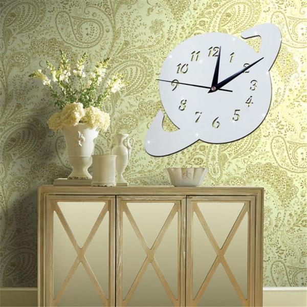 Unique Forme Horloge Murale Planète Miroir Argent Horloge Murale Design Moderne Décor À La Maison Montre Autocollant En Gros Vente Chaude R2