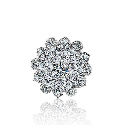 XZ016 Silver Tone Clear Rhinestone Crystal Brooch Flower Girls' Corsage Fashion Brooch Wedding Bridal Bouquet Pins Brooches