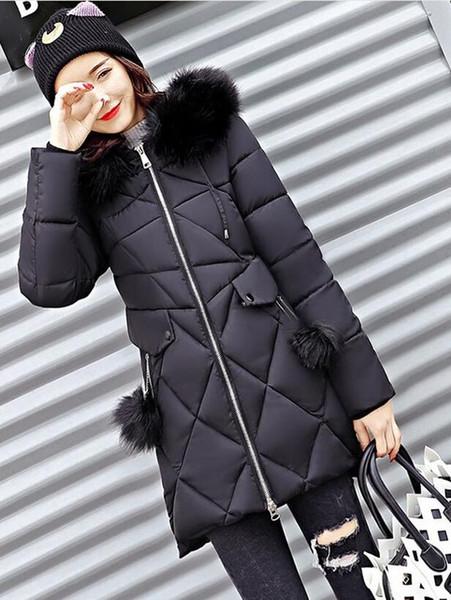 2018 New Fashion Women Winter Jacket With Fur collar Warm Hooded Female Womens Winter Coat Long Parkas Outwear