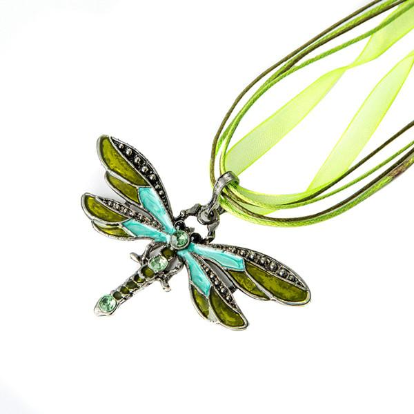 hot sell 6Colors Vintage Enamel Dragonfly Crystal Pendant Necklaces Organza String Necklace Necklaces fashion Jewelry