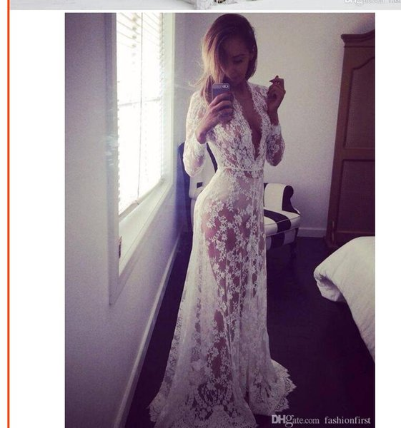 NEW Style See Through Dress Plus Size Maxi Hot Style Summer Beach European Sexy Deep V-neck Long Sleeves Lace Long Dress