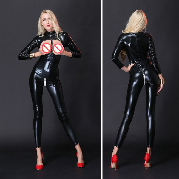 M-XXL Women Sexy Black Faux Leather Bodycon Bodysuit Erotic Open Bust Crotch Zipper Catsuit Fetish Stripper Pole Dance Lingerie Nightclub