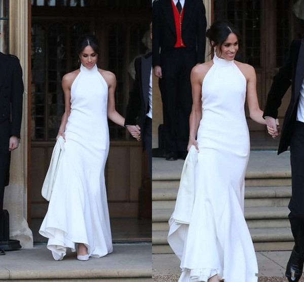 Elegant White Wedding Dresses 2018 Prince Harry Meghan Markle Wedding Gowns Halter Neck Satin Wedding Recept Dress Online Wedding Dresses Petite