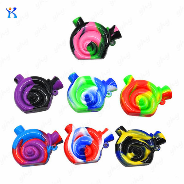 Travel Bong Snail Shape Silicone Water Pipe Non-toxic Food-Grade Silicone Dab Rig Portable Oil Rigs Silicone Blunt Bubbler Water Bongs