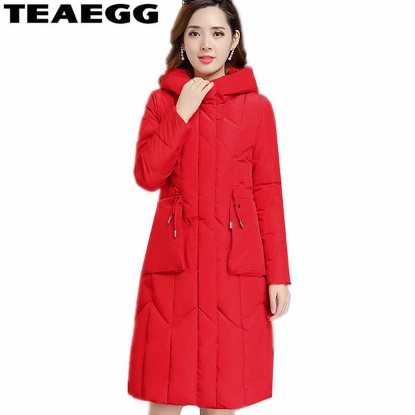 TEAEGG Plus Size 4XL 5XL Women Parkas Mujer 2018 Red Cotton Padded Warm Womens Winter Jackets Hooded Warm Ladies Coats AL1485