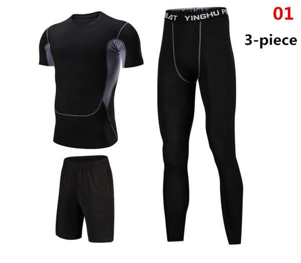 2018 Sıkıştırma Setleri Artı Boyutu Erkekler Eşofman Moda Sıska Marka Giyim Spor Baskı Spor tshirt Yüksek Kalite Crossfit Suits