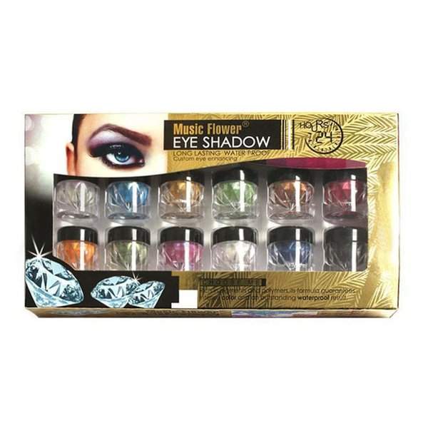 Music Flower 12 Colors Highlighter Makeup Eyeshadow Palette Glitter Eye Shadow Face Powder Make Up Kit